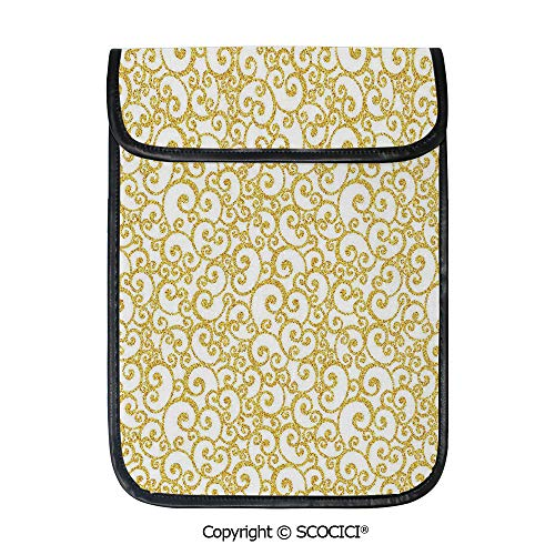 SCOCICI iPad Pro 12.9 Inch Sleeve Tablet Protective Bag Floral Ivy Swirls Like Rounds Old Victorian Time Inspired Art Print Decorative Custom Tablet Sleeve Bag Case