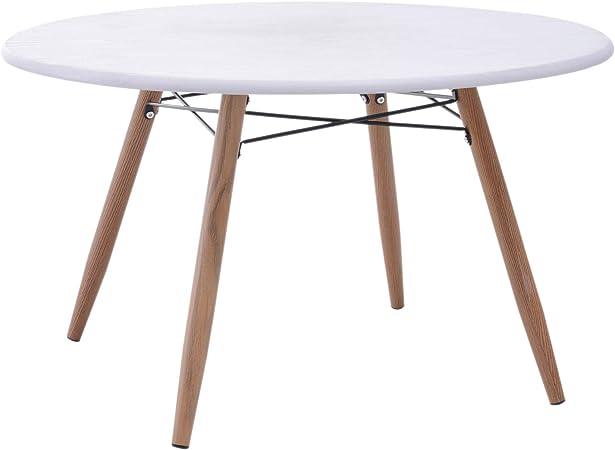 Homcom Table Basse Ronde Design Scandinave O 80 X 45h Cm Metal Imitation Bois Mdf Blanc