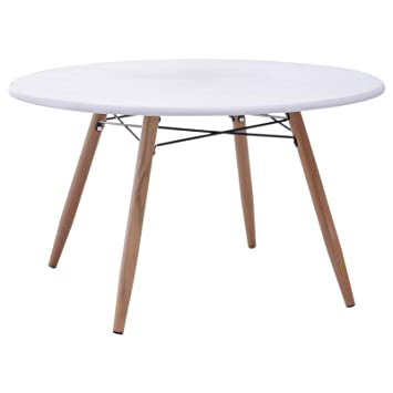 Table Basse Ronde Scandinave.Homcom Table Basse Ronde Design Scandinave O 80 X 45h Cm Metal Imitation Bois Mdf Blanc