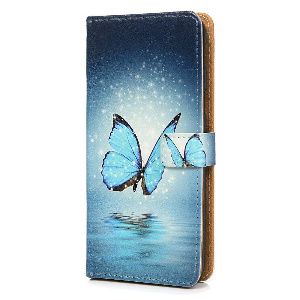 Tophung Huawei P30 Case Premium Soft PU Leather Notebook Wallet Case with Kickstand Function Card Holder ID Slot Slim Flip Protective Shockproof Phone Cover for Huawei P30 Blue Butterfly