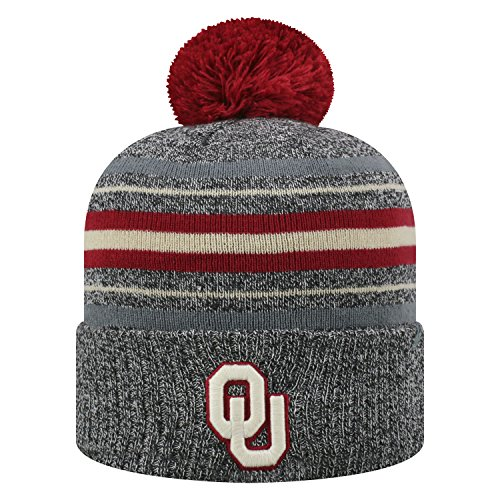 Top of the World Oklahoma Sooners Official NCAA Cuffed Knit Sock Hop Stocking Stretch Hat Cap Beanie Pom 473260