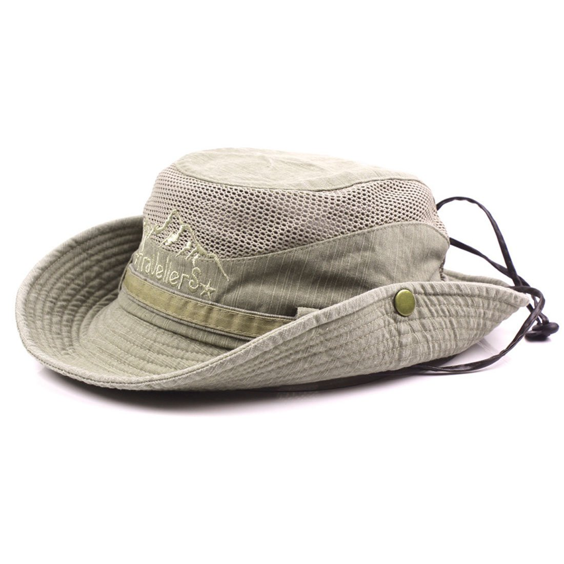 King Star Men Summer Cotton Cowboy Sun Hat Wide Brim Bucket Fishing Hats H614242-1