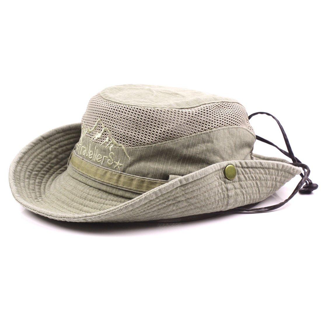 King Star Men Summer Cotton Cowboy Sun Hat Wide Brim Bucket Fishing Hats H614242-1