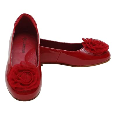 24994cdc6503 L Amour Toddler Girls 5 Red Flower Slip On Dress Shoes