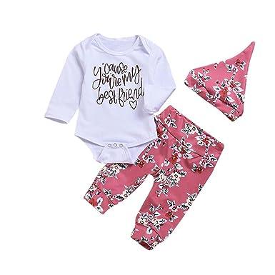 ba0cba190d6 GoodLock Baby Girls Fashion Clothes Set Newborn Letter Print Long Sleeves  Romper+Pants+Hat