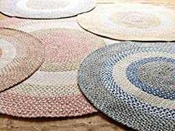 Soft Braided Rug 2ft. x 4ft. Oval Purple/Green/White Chenille Texture Carpet