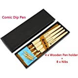 Hillento Comic Dip Pen Set, 4 Wooden Pen Handler Artist Cartoon Pen Set Calligraphy Dip Pens With 8 Nibs - Great for Manga/Comic/Calligraphy/Word Art/Pen-and-Ink Drawing