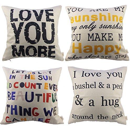 HOSL P63 4pcs Sofa Simple Home Decor Design Throw Pillow Case Decor Cushion Covers Square (4x Love Pillow Covers)