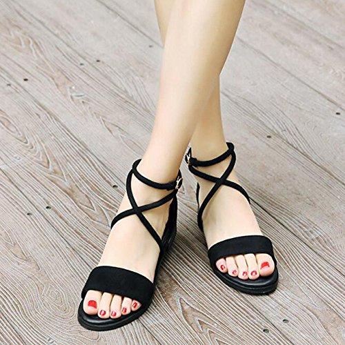 Vacaciones Straps Casuales De Summer Sandalias Cross Para Negro Zapatos Flats Roman Las Señoras Flat De Viajes wvHqO1a6HX