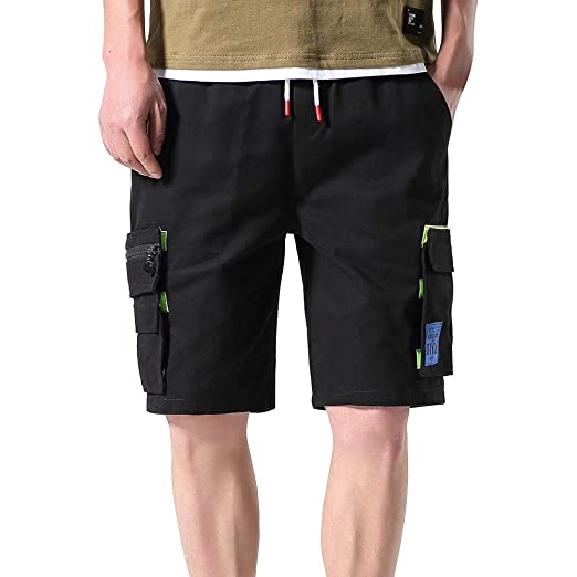 cd7ae51ca6ead1 Mens Fashion Cargo Shorts, Donci Solid 5 Pocket Multifunctional Patchwork  Short Pants Lace Up Elastic Casual Clothing | Amazon.com