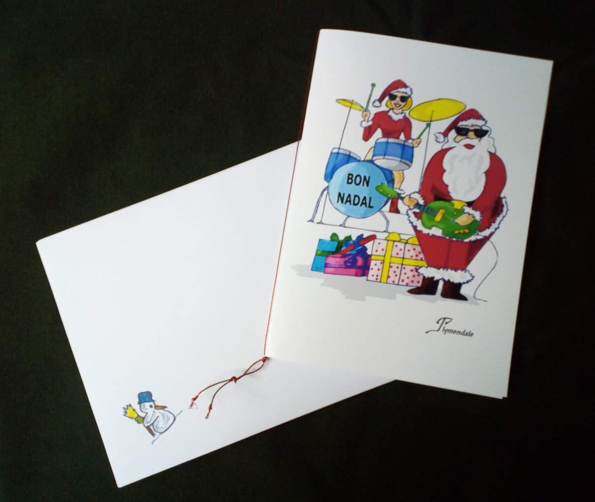 Guitarra, batería, esta tarjeta de Navidad dibujada a mano nos ...