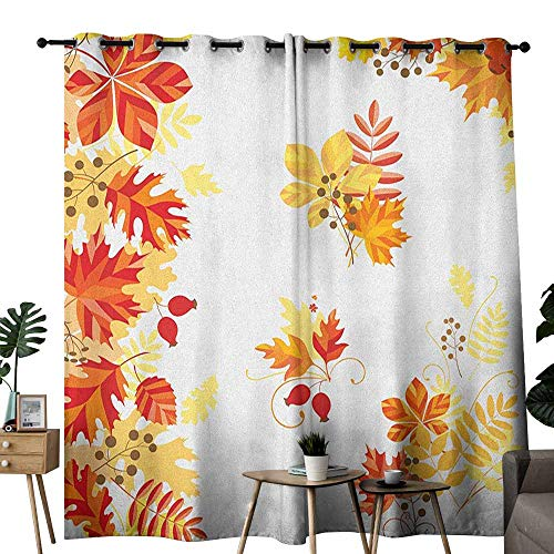 duommhome Fall Polyester Curtain Autumn Themed Pattern Chestnut Oak Maple Leaves and Berries Corner Design Elements Darkening and Thermal Insulating W84 x L108 Multicolor