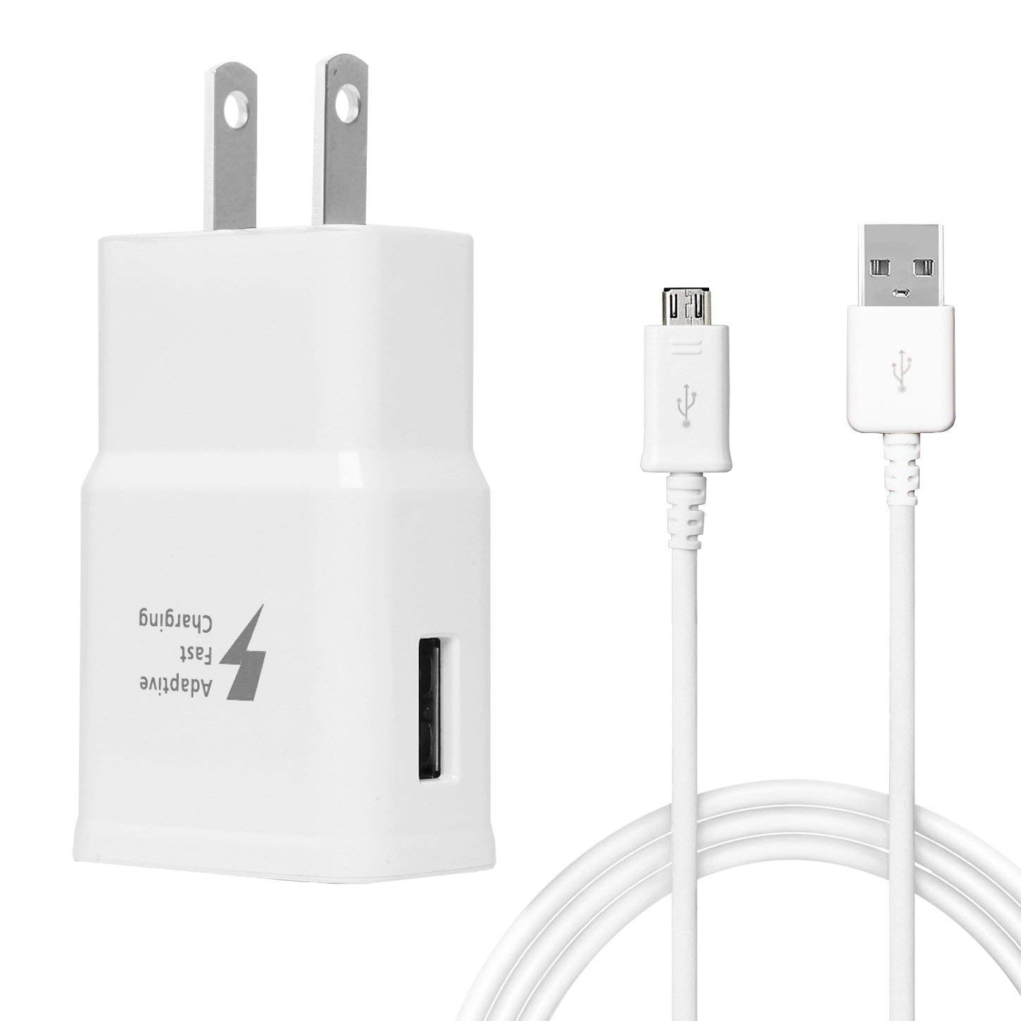 Samsung Fast Charger, for Samsung Galaxy S7 S7 Edge S6 S6 Edge Note5/4 LG G2 G3 G4, Galaxy Cable, Quick Charge 2.0 Adapter Micro USB, Wall Charger[White] + Cable[white] Yaochuang