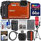 Nikon Coolpix W300 4K Wi-Fi Shock & Waterproof Digital Camera (Orange) 64GB Card + Case + Battery & Charger + Tripod + Float Strap + Kit