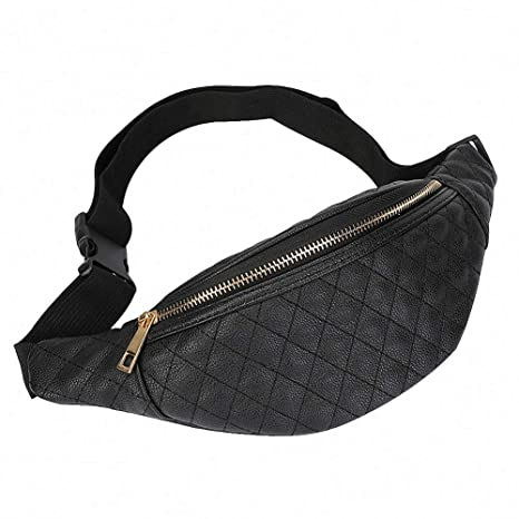 f857c8099166 Women Fanny Pack Leather Plaid Lightweight Fashion Waist Bag (Black)