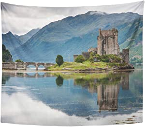 Remain Unique Tapestry Scottish Eilean Donan Castle Loch Duich Scotland UK World Landscape Landmark Wall Hang Decor Indoor House Made in Soft