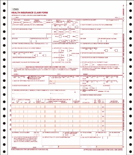 Adams Health Insurance Claim Forms, Continuous, 9.5 x 11 Inches, White, 2-Part, 100 Sets (CMS1500C)