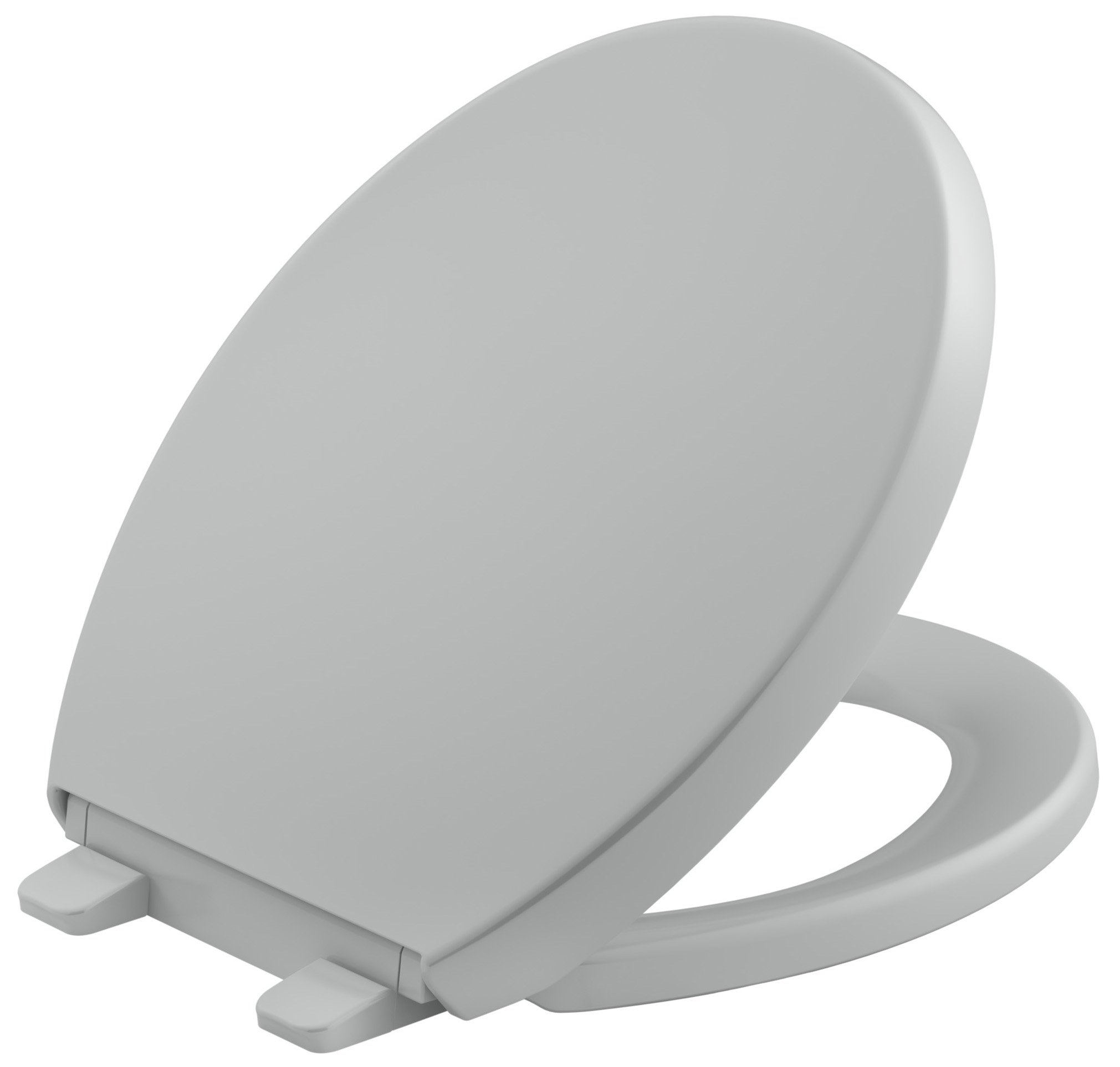KOHLER K-4009-95 Reveal Quiet-Close with Grip-Tight Bumpers Round-front Toilet Seat, Ice Grey