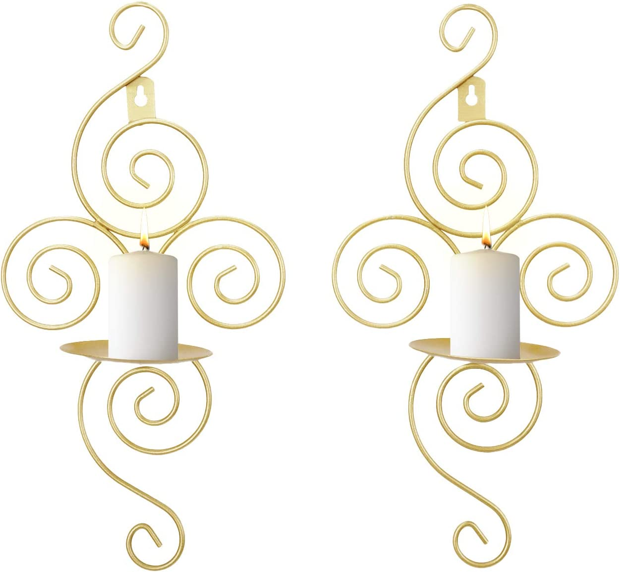 Dyna-Living Wall Candle Sconces Elegant Hanging Wall Sconces Set of Two Gold Candle Holder for Home Decor Weddings Porch Yard Pathway Lighting