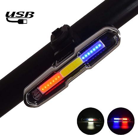 Luz trasera para bicicleta, USB recargable 3 colores COB LED ...