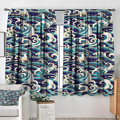 All of better Nautical Room Darkening Curtains Traditional Oriental Style Ocean Waves Pattern with Foam and Splashes Print Decorative Curtains for Living Room 55