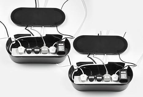 Hilltop Products - Caja para cables (para regletas de 6 enchufes), color negro: Amazon.es: Electrónica