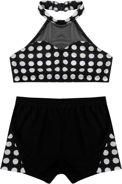 CHICTRY Completo Danza Moderna Bambina Crop Top Danza del Ventre Pantaloncini Palestra Tuta Ginnastica Artistica Suit Danza Classica Saggio Yoga Fitness Correre Spiaggia