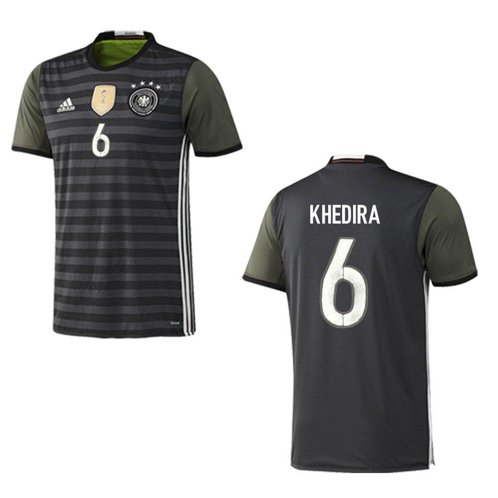 Adidas DFB 4Sterne Away Deutschland Auswärtstrikot grau mit Flock EM2016, Nummer und Name 6 - Khedira;Größe 140