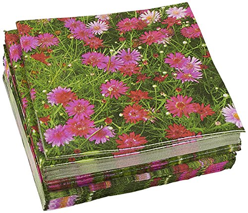 100-Pack Decorative Napkins - Pink Daisy Floral Print Disposable Paper Party Napkins - Soft and Absorbent Cocktail Napkins for Luncheon, Dinner and Celebration, Pink, 13 x 13 (Celebration Luncheon Napkins)