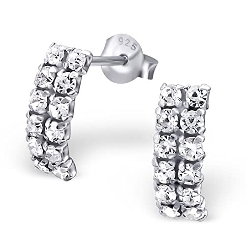 8bd27c4be Image Unavailable. Image not available for. Color: 925 Sterling Silver  Clear Crystal Rectangle Stud Earrings 16498