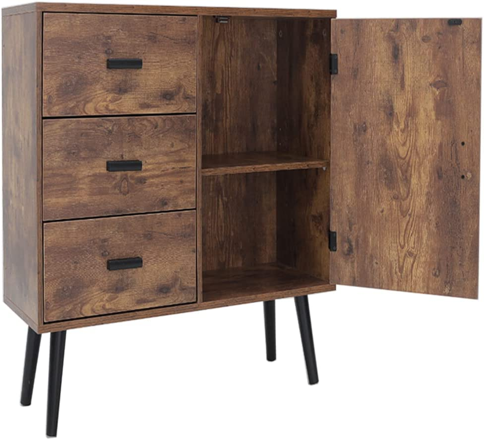 Iwell Mid-Century Storage Cabinet with 3 Large Drawers & 1 Side Cabinet with Adjustable Shelf, 31.5
