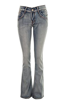 bf00d9e4290b9 Women s Kick Flare Bell Bottom Jeans Ladies Low Rise Skinnie Flared Stone  Wash Blue Vintage Womens