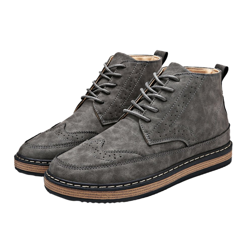 CMM Men's Classic Wingtip Ankle Boots Waterproof Modern Dress Shoe 8in Gray by CMM