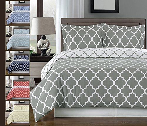 Gray and White Meridian 3-piece Full / Queen Comforter Cover (Duvet-Cover-Set) 100 % Cotton 300 TC (Queen Comforter Set Cotton)