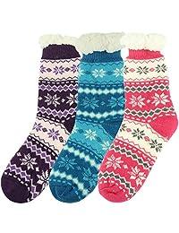 Non-slip Indoor Slipper Socks, Home Slipper Women's Soft Warm Fuzzy House Socks Pack of 1 or 3