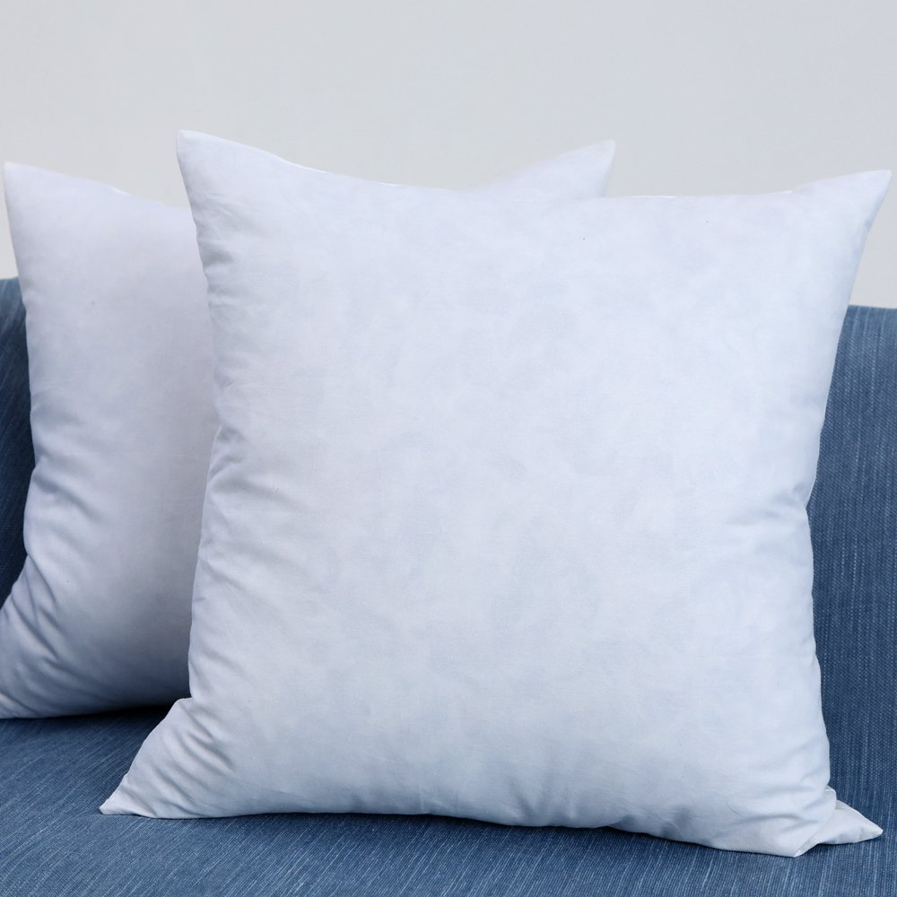 EHOMEBUY Set of 2, 18'' x 18'' Down and Feather Decorative Throw Pillow Inserts, 100% Cotton Fabric