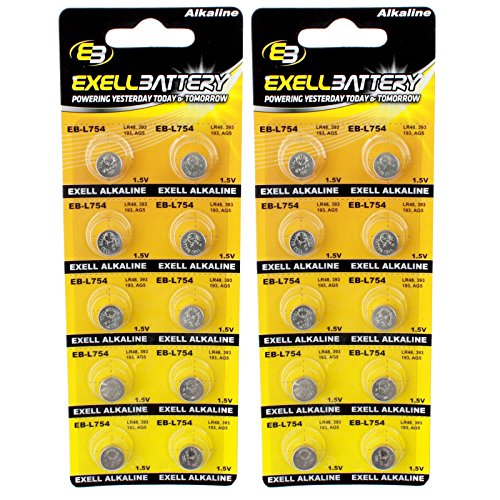2pc 10pk Exell EB-L754 Alkaline 1.5V Watch Battery Replaces AG5 393 - Lms 123