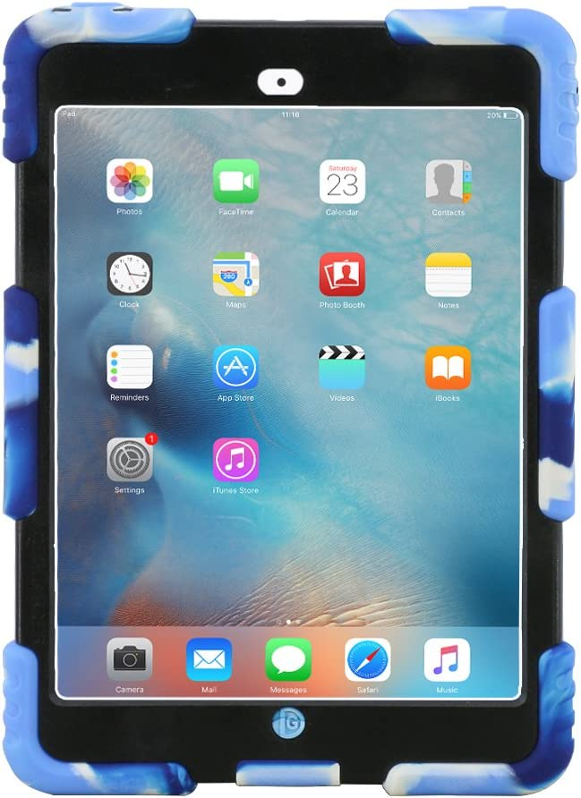 iPad Mini 1 2 3 Case ACEGUARDER Full Body Protective Premium Soft Silicone Cover Proof Case for iPad Mini 1 2 3 (Camo Blue)