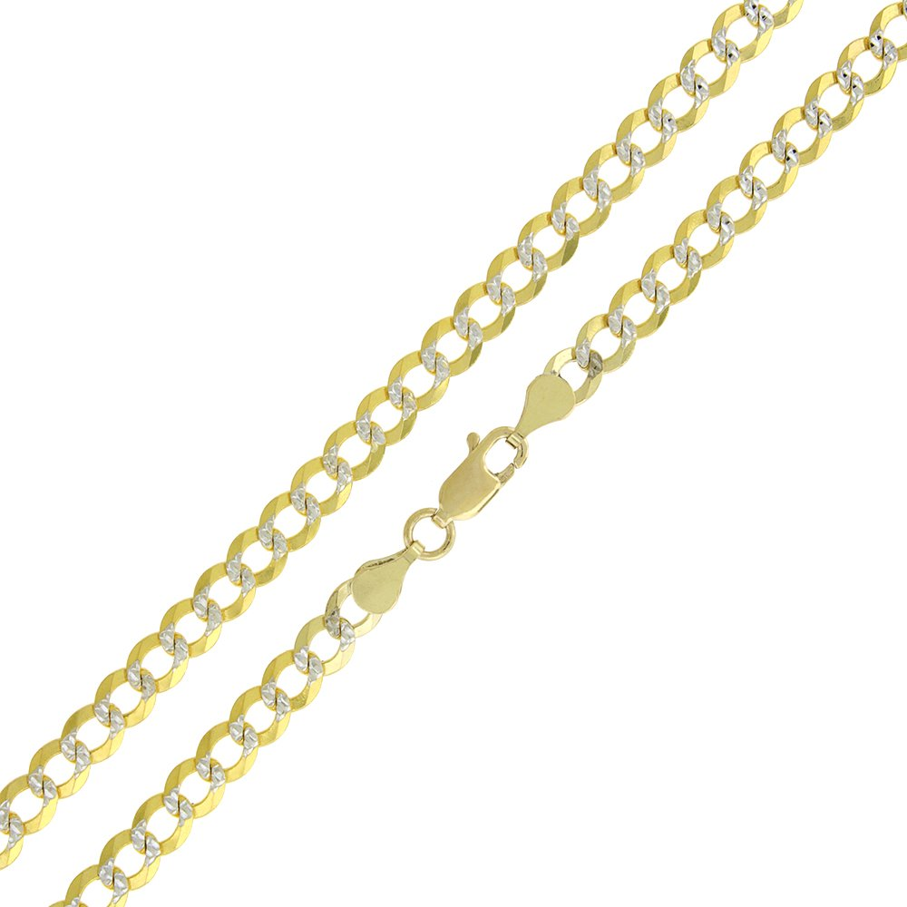 14k Yellow Gold 4.5mm Solid Cuban Curb Link Diamond Cut Two-Tone Pave Necklace Chain 22'' - 24'' (24)