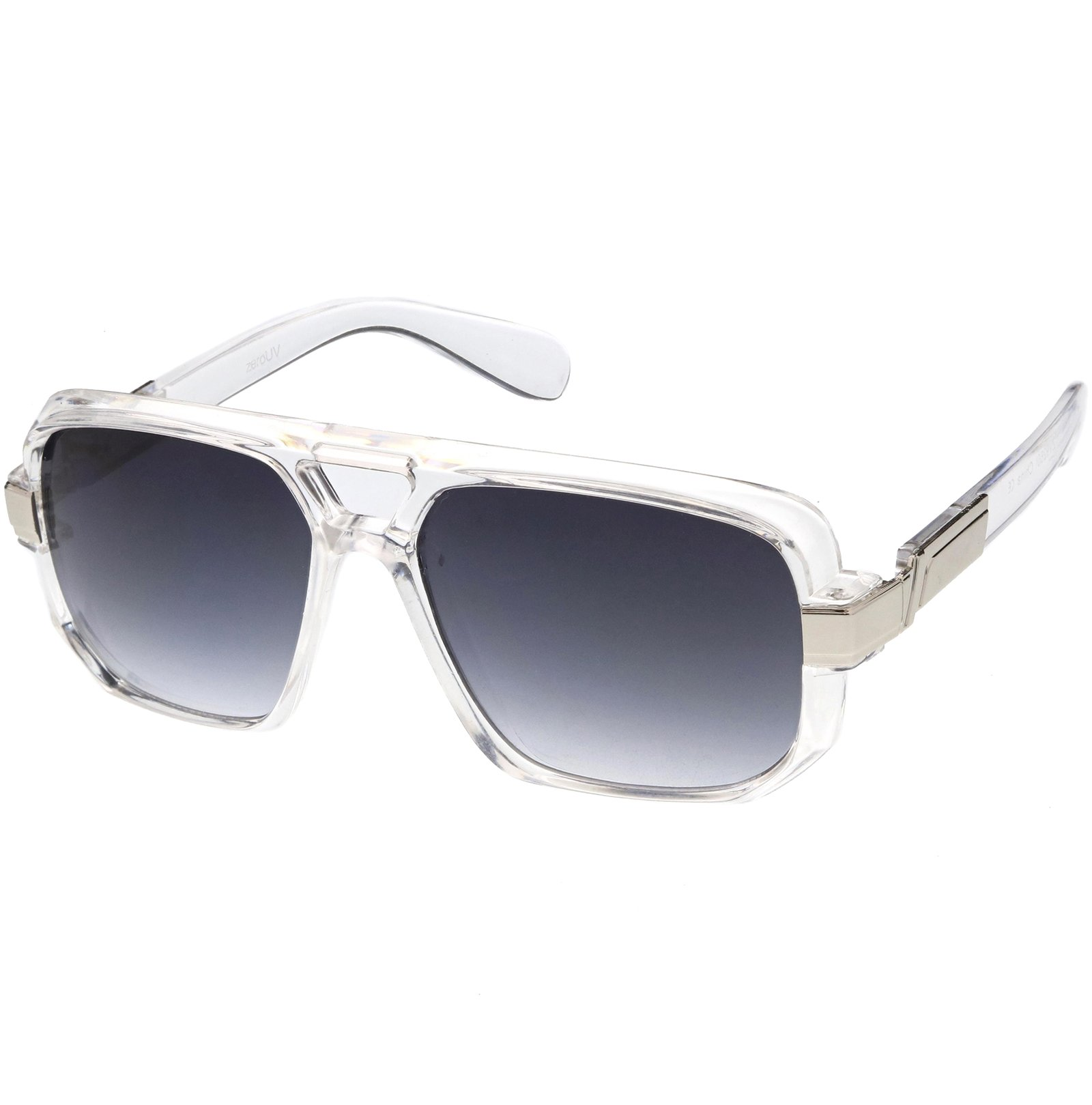 Classic Square Frame Plastic Flat Top Aviator Sunglasses (Clear Silver)