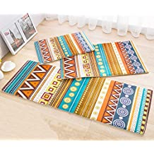 TideTex 3-piece Fashion Ethnic Style Rugs Bedroom Living Room Rug Runner Bedside Rugs Sofa Coffee Table Carpets Bathroom Non-Slip Carpets Door Mats (1'3x2'0+1'6x2'6+1'5x3'9, photo color)