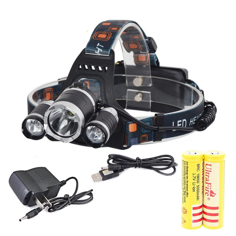 Aidisun XML 3 * T6 6000 Lumens LED Headlamp Waterproof Adjustable Headlight with 2 * 18650 Rechargeable Batteries & Charger for Outdoor Sport Camping Biking Working Hunting