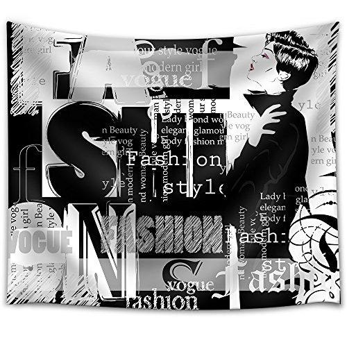 Vintage Fashion Background Letters Words and Stylish Girl Fabric Wall