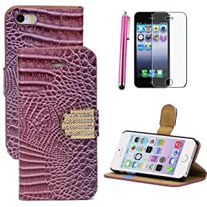 Goldream P48 Alligator Pattern Dark Purple Bifold Flip Rhinestone Bling Wallet Card Stand Case Cover For Apple iPhone 5 5S with FREE Stylus Pen & Crystal Clear Screen Protector