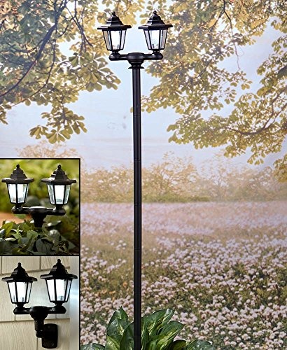 The Lakeside Collection 3-in-1 Solar Lamppost 1 Outdoor Post