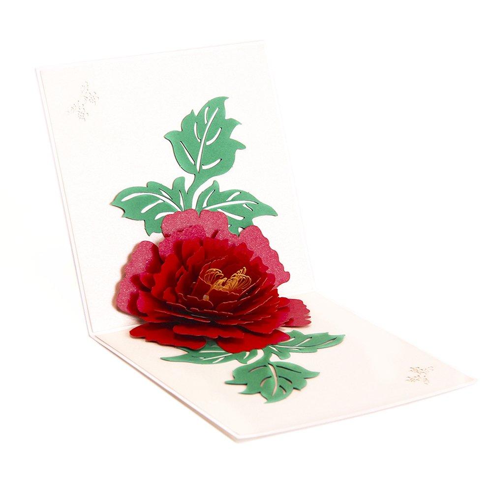 Paper Spiritz Peony 3D Pop up Birthday Card Wedding Christmas ...