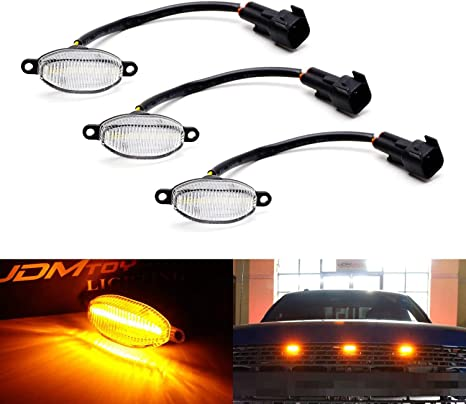 Amazon.com: iJDMTOY (3) luces LED para parrilla para Ford ...