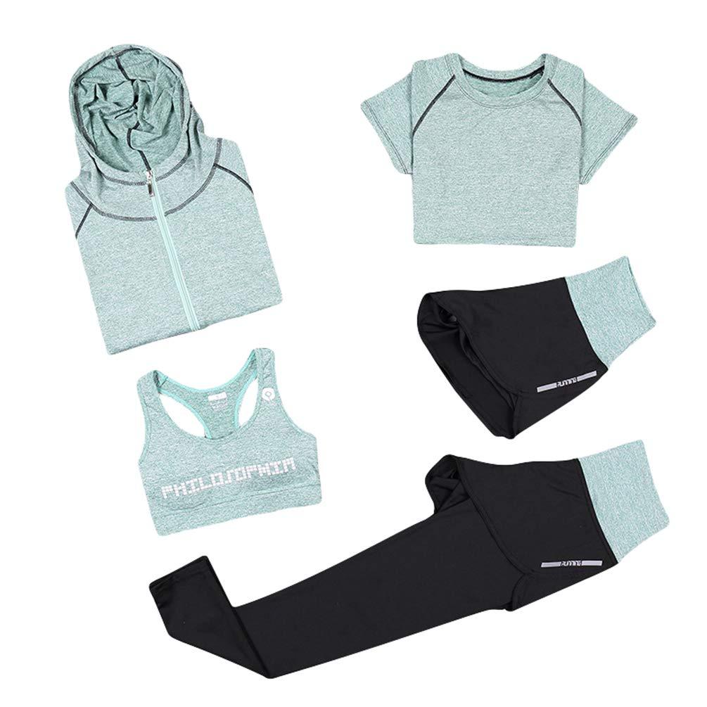 Xinwcang Damen Trainingsanzug 5 Stück Set Atmungsaktiv Gym Fitness Kleidung Set Schnell trocknend Trainingsanzug Laufbekleidung Set