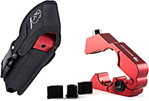 BigPantha #1 Motorcycle Lock - A Grip / Throttle / Brake / Handlebar Lock to Secure Your Bike, Scooter, Moped or ATV in Under 5 Seconds! (Red). BONUS Grip Lock Holster for Easy Storage & Transporting