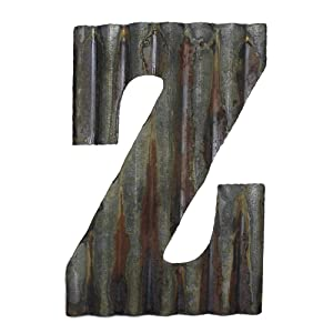 "Farmhouse Rustic 12"" Wall Decor Corrugated Metal Letter -Z"